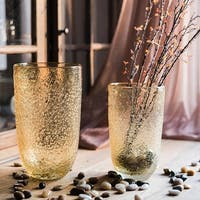 RusticReach Amber Color Textured Glass Vase