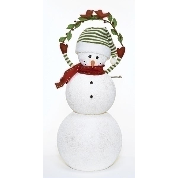"""29"""" Happy Holidays Animated and Musical Snowman with Mistletoe Christmas Figure Decoration"""