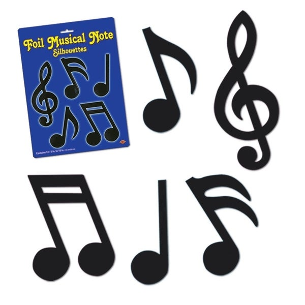"""Club Pack of 144 Jazzy Black Foil Musical Notes Silhouette Decorations 10"""""""