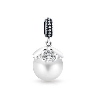 Bling Jewelry 925 Silver Imitation Pearl Heart Dangle Bead Charm