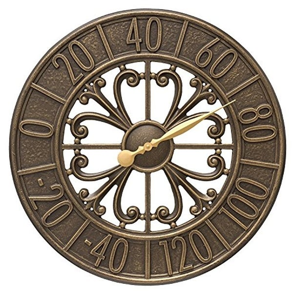 Whitehall Products Villanova 21-in Indoor/Outdoor Wall Thermometer - Bronze