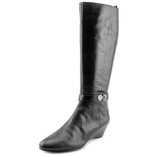 Bandolino Adanna Wide Calf Women Round Toe Leather Black Knee High Boot