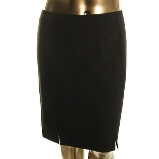 Kasper Womens Petites Pencil Skirt Flounce Slit Hem