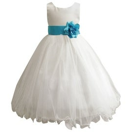 Wedding Easter Flower Girl Dress Wallao Ivory Rattail Satin Tulle (Baby - 14) Turquoise