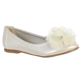 Girls Ivory Rhinestone Flower Lucy Special Occasion Dress Shoes 5-10Toddler