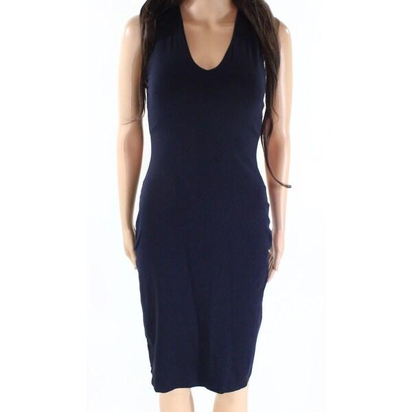 4186b44f799a Shop Susana Monaco Blue Womens XS V-Neck Matte Jersey Knit Sheath ...
