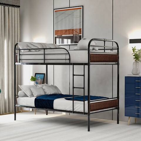 Twin over Twin Bunk Bed with Sturdy Steel Frame