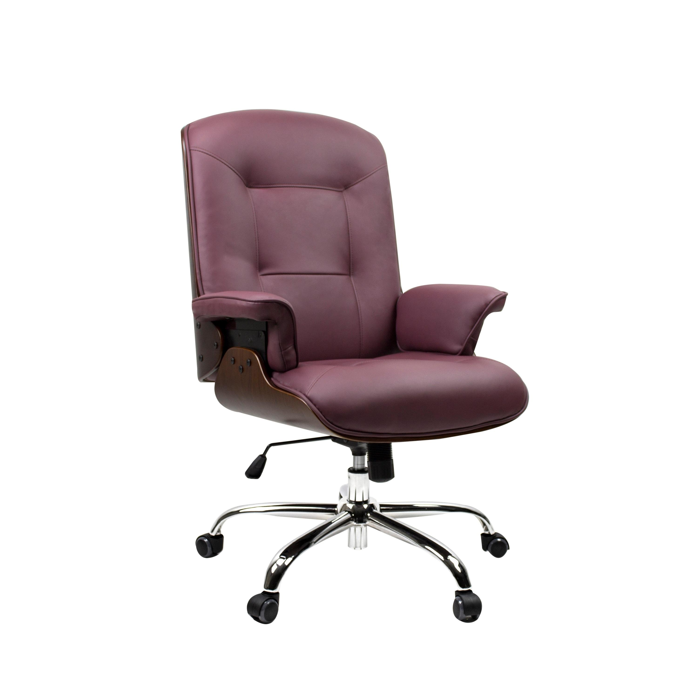 Shop Birch Mid Century Modern Home Office Chair Burgundy Wood Overstock 31149015