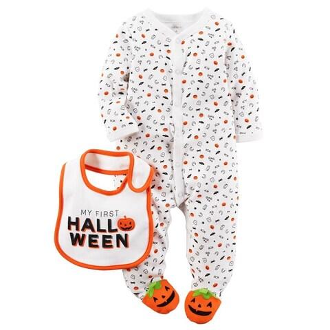 Carters Boys 0-9 Months First Halloween Sleeper Set - White