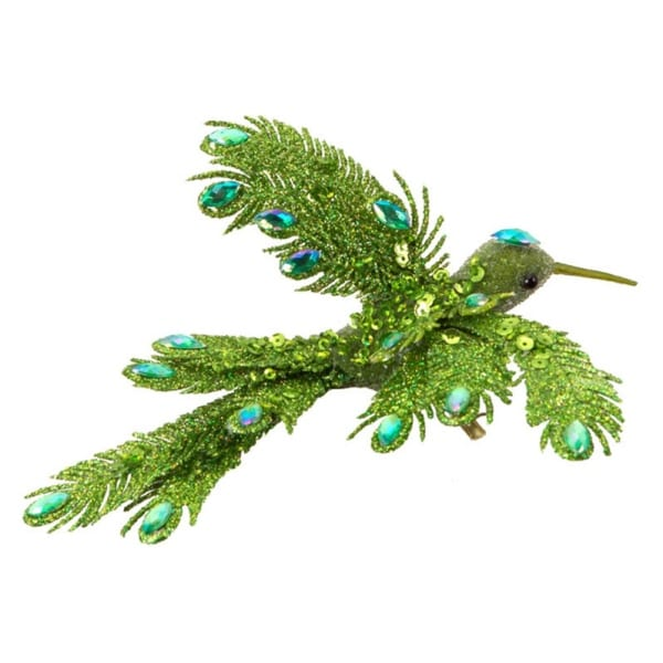Pack of 12 Bright Green Soaring Bird Jeweled Clip-On Christmas Ornaments 6""