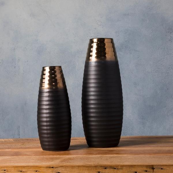 Temujin Gold Ceramic Modern Decorative Vase (Set of 2). Opens flyout.