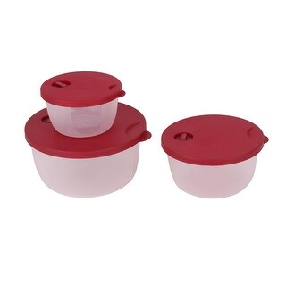 Home Cylinder Food Rice Refrigerator Storage Container Box Case Dark Red Clear 3 in 1 - Multi-Color