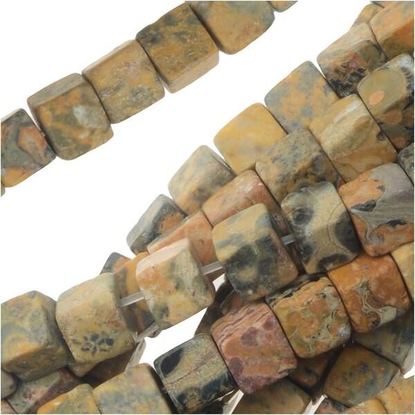 Leopardskin Jasper Gemstone Beads, Smooth Cubes 4mm, 1 Strand, Tan