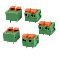 5pcs KF142 400V 15A 7.68mm Pitch 2P Green Spring Terminal Block for PCB Mounting