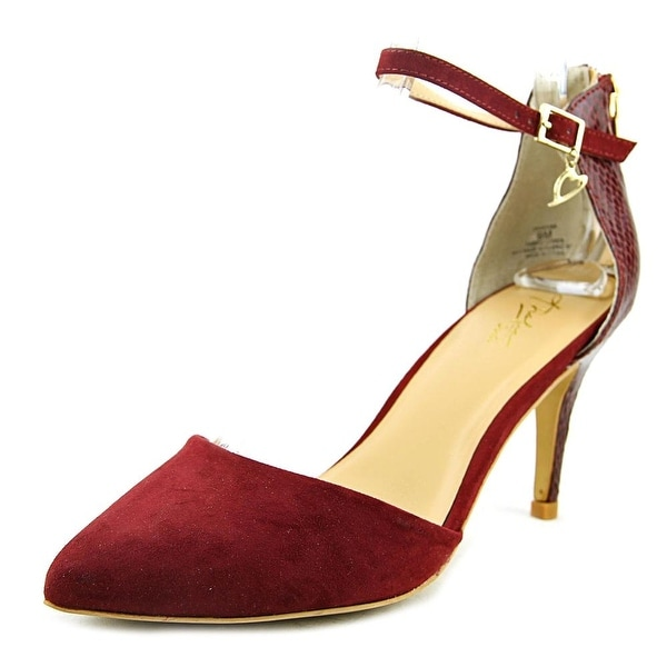 Thalia Sodi Vanesssa Women Pointed Toe Canvas Burgundy Heels
