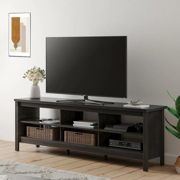 Farmhouse Wood TV Stand for 75 inch TV Entertainment Center - 73 inches. Opens flyout.