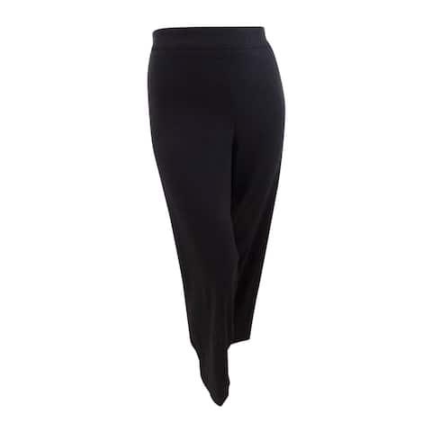 JM Collection Womens Plus Tummy Control Straight Leg Pull-On Pants (28W, Black) - 28W