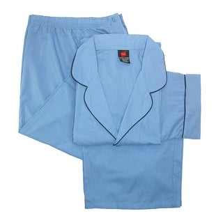 Hanes Men's Big & Tall Broadcloth Long Sleeve Pajama Set