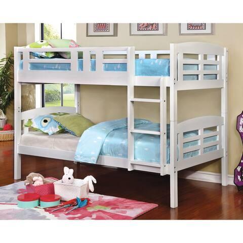 Furniture of America Duga Contemporary White Twin/Twin Bunk Bed