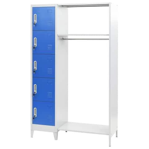 vidaXL Locker Cabinet with Coat Rack Blue and Gray Metal