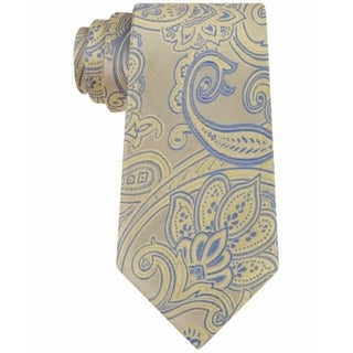 Michael Kors NEW Yellow Mens One Size Scalloped Paisley Silk Neck Tie