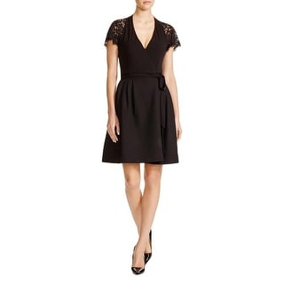 Diane Von Furstenberg Womens Elizabeth Cocktail Dress Wrap Lace Inlet