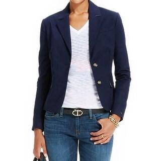 Tommy Hilfiger Womens Two-Button Blazer Twill Notch Collar