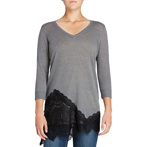 Love Scarlett Womens Pullover Sweater Linen Blend Lace-Trim
