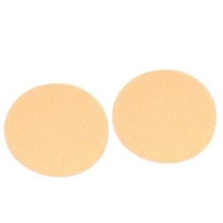 Unique Bargains 2 Pcs Round Shaped Powder Puff Facial Face Pad Makeup ToolWomen Lady Apricot