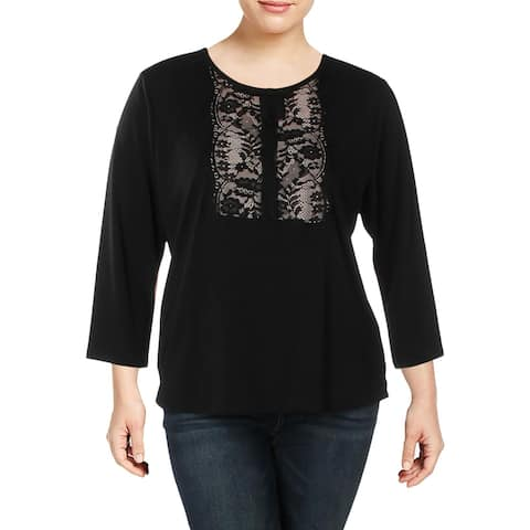Karl Lagerfeld Womens Blouse Knit Lace Inset