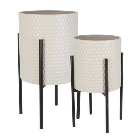 Honeycomb Planter On Metalstand, White/Blk (Set Of 2)