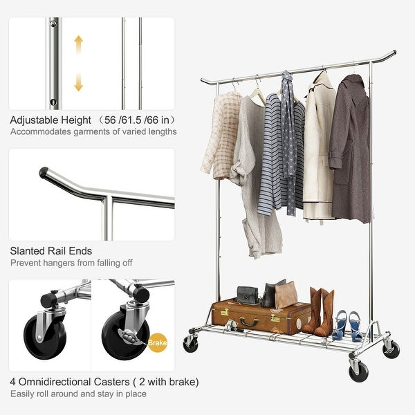 Garment Rack Clothes Hanger Rolling Collapsible Clothing Shelf Height Adjustable
