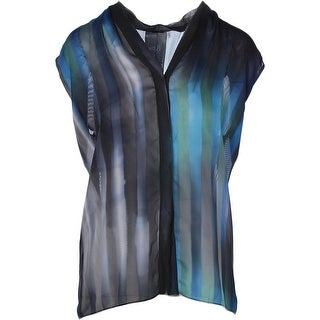 Elie Tahari Womens Adira Sheer Silk Trim Button-Down Top