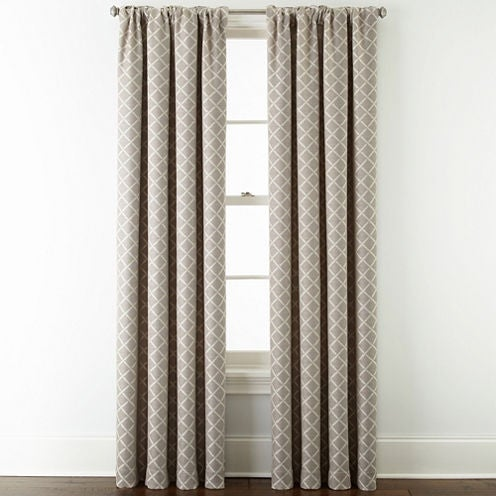 Quinn Lattice Grommet-Top Curtain Panel 50x108 Sullivan Khaki
