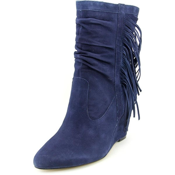 INC International Concepts Everleeh Women Round Toe Suede Blue Ankle Boot