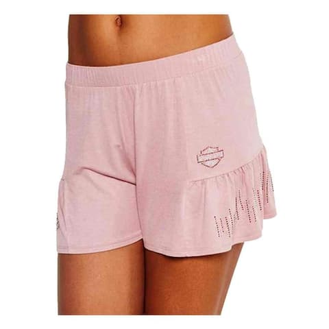Harley-Davidson Women's BNS Flair Embellished Side Pleated Sleep Shorts, Pink