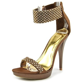 Pleaser Revel-16 Women Open Toe Canvas Bronze Platform Sandal