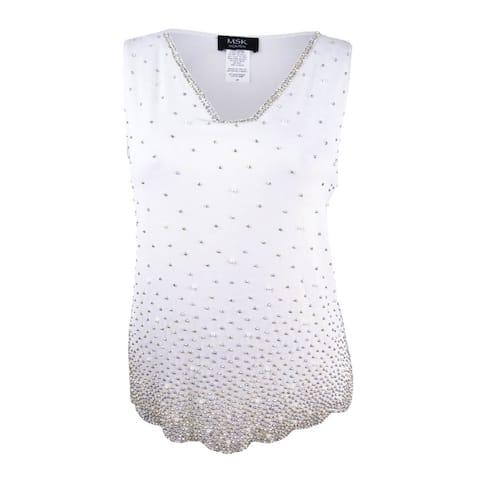 MSK Women's Plus Size Sleeveless Beaded Top (1X, Ivory) - Ivory - 1X