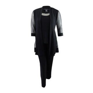 R&M Richards Women's Embellished Layered-Look Pantsuit - Black