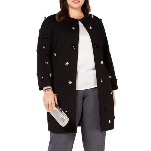 Alfani Women's Jacket Black Size 1X Plus 3D Flower Embellishment