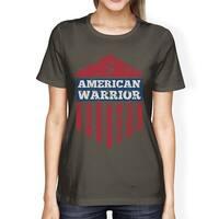 American Warrior Tee Womens Dark Grey Short Sleeve T-Shirt For Her