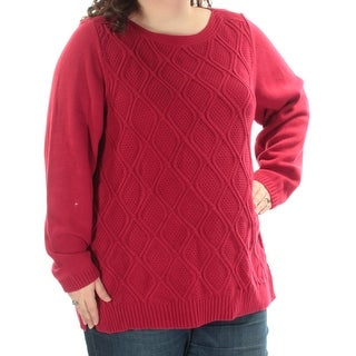 KAREN SCOTT Womens New 1031 Red Cable Knit Long Sleeve Sweater 2X Plus B+B