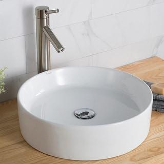 Link to Kraus Elavo 18 inch Round Porcelain Ceramic Vessel Bathroom Sink Similar Items in Sinks