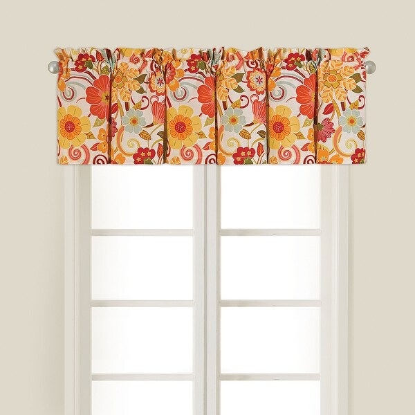 """Set of 2 Nostalgic Red and Orange Floral Patterned Giselle Valance Curtains with Rod Sleeve 72"""" - N/A"""