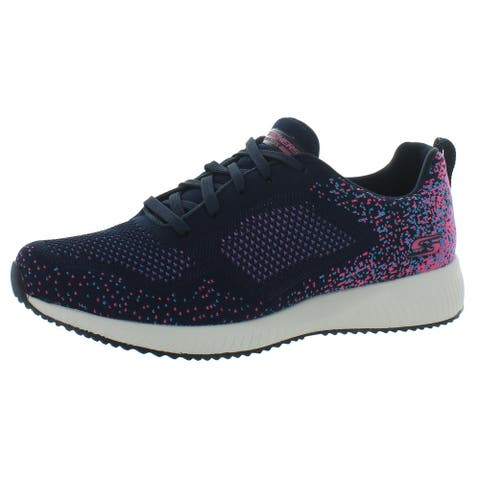 Skechers Womens Bobs Squad Awesome Sauce Running Shoes Knit Workout - Navy/Pink