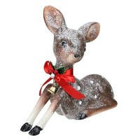 "7.5"" Brown and White Spotted Glitter Reindeer Table Top Christmas Decoration"