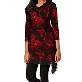 Cable & Gauge NEW Red Black Fan Print XL Handkerchief-Hem Cowl-Neck Top