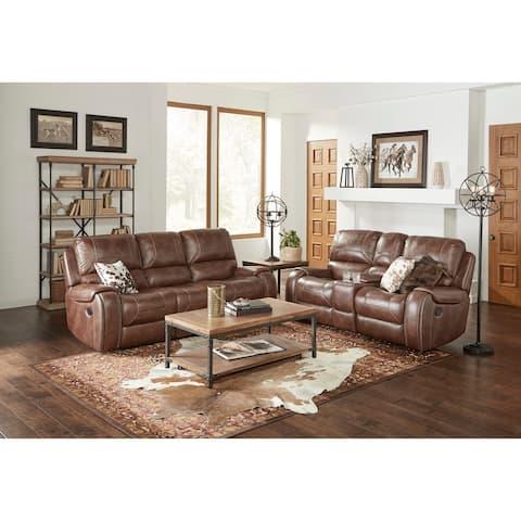 Achern Leather-Air Nailhead Manual Reclining Sofa and Loveseat