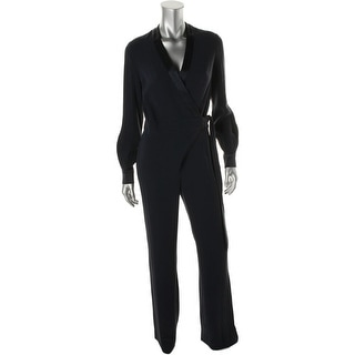 Diane Von Furstenberg Womens Margot Satin Trim Long Sleeves Jumpsuit - 8