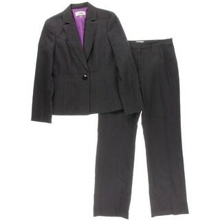 Le Suit Womens Pinstripe Notch Lapel Pant Suit